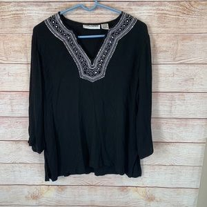 Cathy Daniels Embroidered Neckline Top size XL